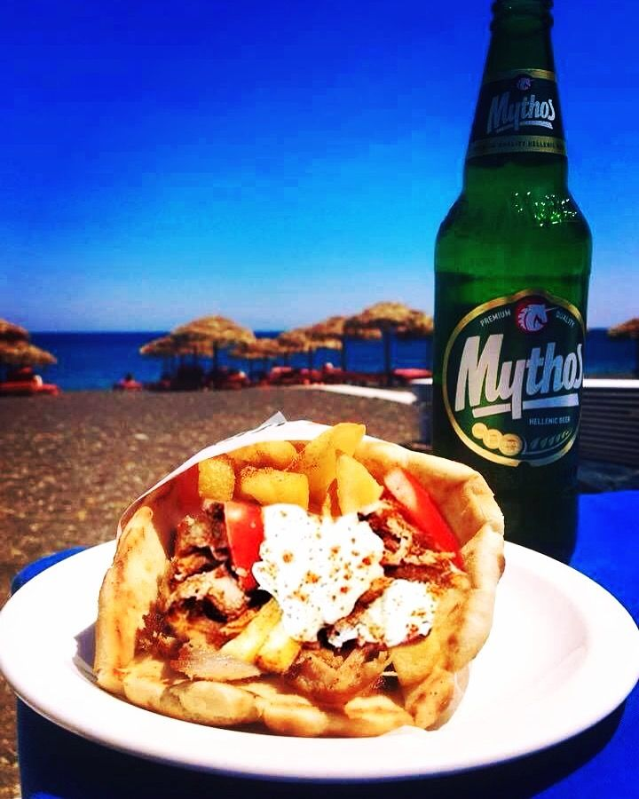 When we finally get off the street, your #Souvlaki + Drink might look a little like this...!!  #JohnTheGreek #Mmm #VisitGreece #Holiday #Street #Gyros