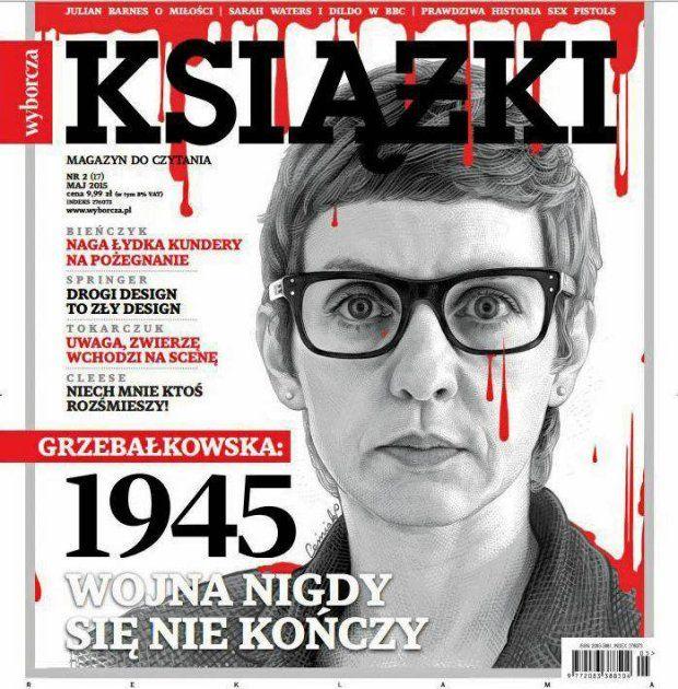 Okładka majowego wydania.  Na okładce: Magdalena Grzebałkowska