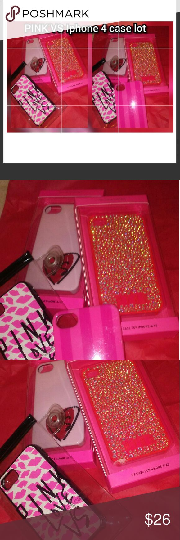 🎁VICTORIA'S SECRET VS PINK LOT OF 4 PHONE CASES 💝VICTORIA'S SECRET VS PINK iPhone 4 CASES BUNDLE 💝2 ARE IN ORIGINAL BOX, EUC 💝ONE IN REFURBISHED PLASTIC CASE, EUC 💝ONE IS A FREEBIE (THE STRIPED) BECAUSE IT'S VERY USED 🎁BUNDLE OR MAKE OFFER Victoria's Secret Accessories Phone Cases