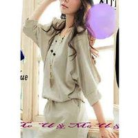 mini dress korea beige murah KK204