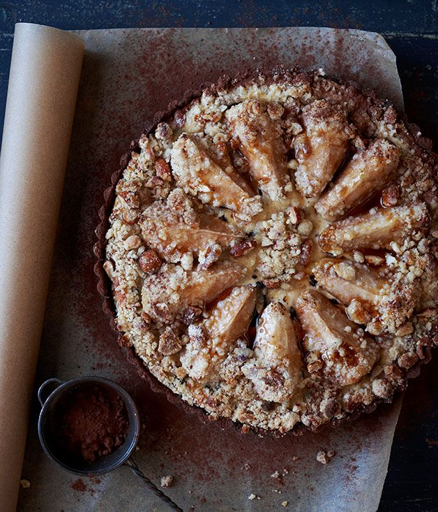 ~Pear-Chocolate-Ricotta Tart~ chocolate pastry&almond/ricotta/chocolate/pear-filling