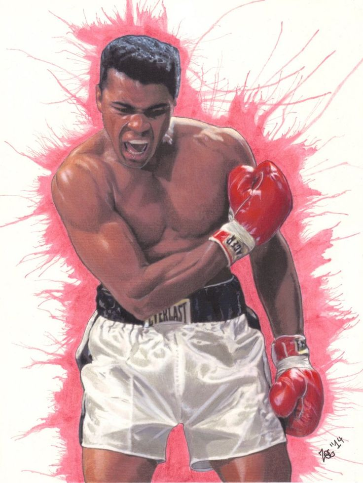 muhammad ali drawing boxing colored pencil ink