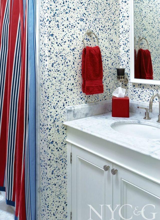 Upper Eastside Apartment Design Chic Apartment design Powder room wallpaper Luxury