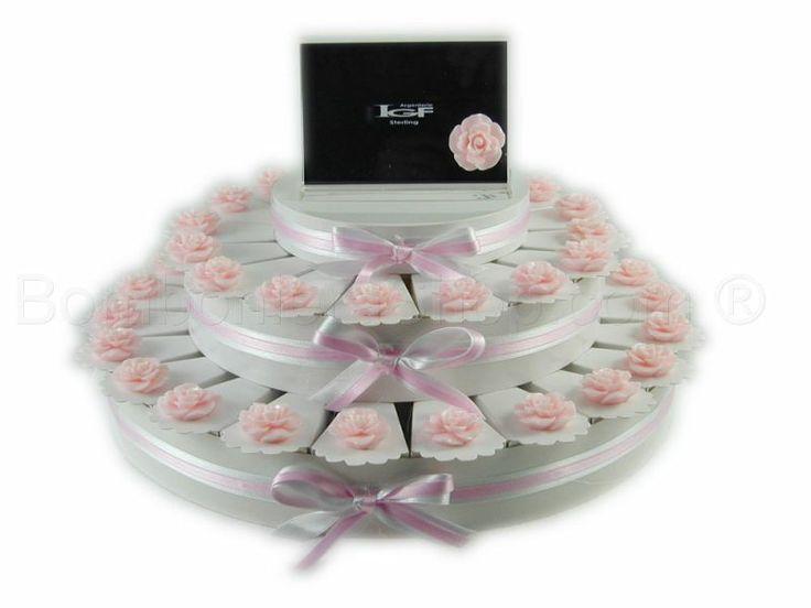 Torta bomboniera 38 fette con boccioli di rosa colore cipria