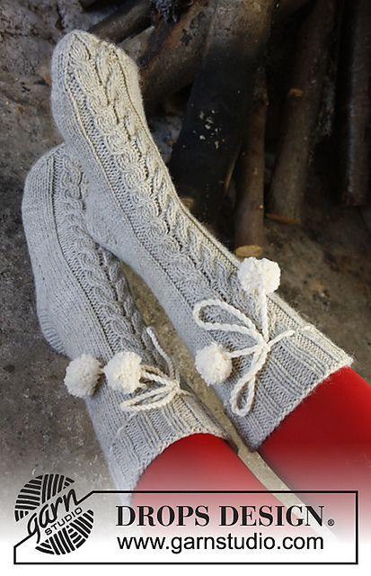 Ravelry: 0-992 Fireside Snuggle - Socks with cable in Nepal pattern by DROPS design-free pattern