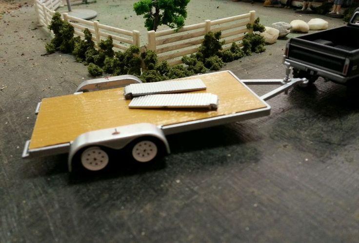 GREENLIGHT car open trailer 1/64 scale DCP ertl farm diorama car hauler hitch
