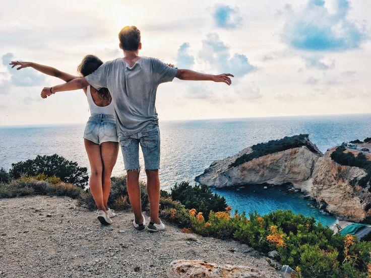 couple travelling Porto Katsiki Beach Lefkada Greece