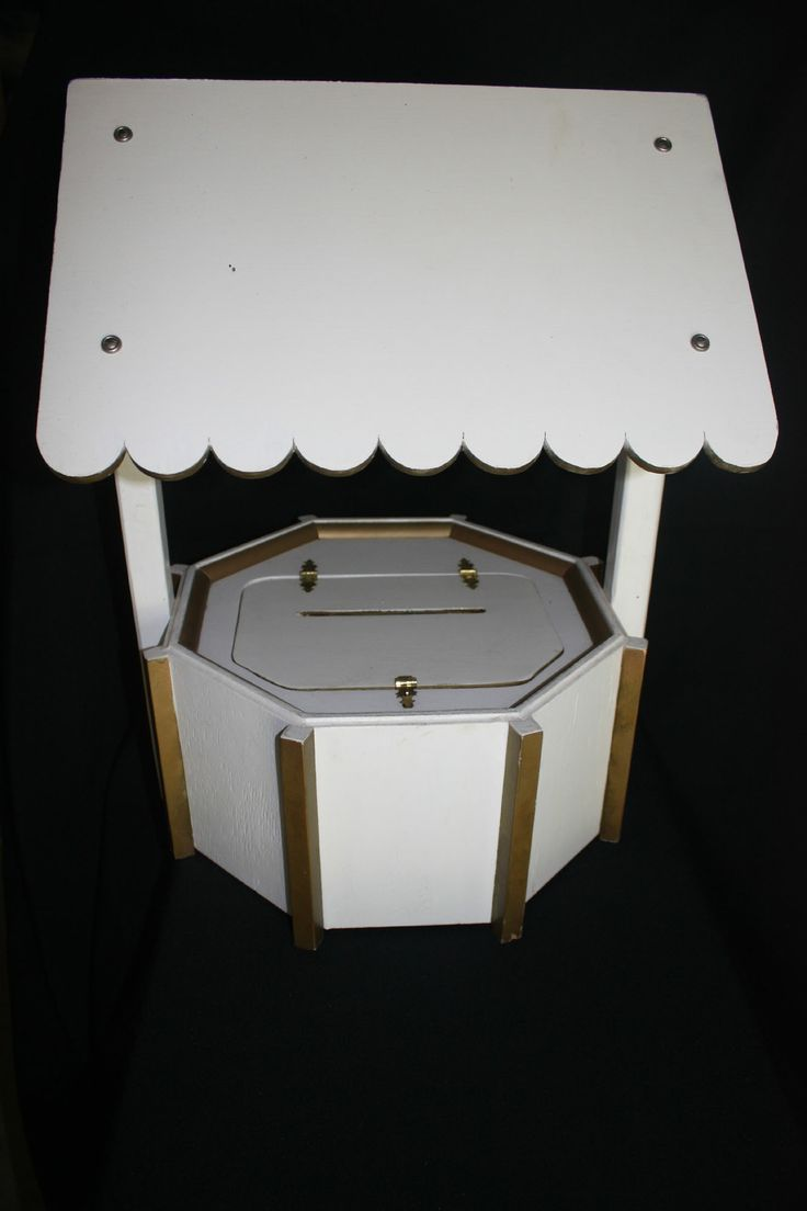 White Wishing Well with Gold Trim