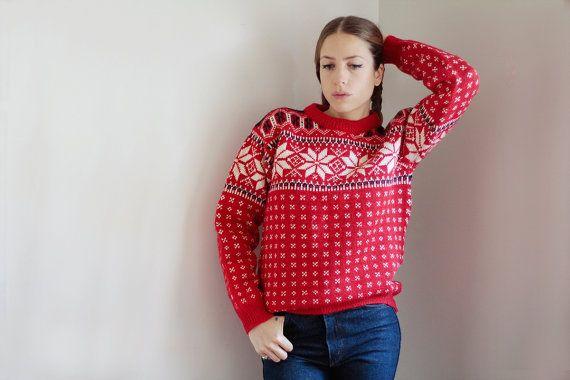 Pullover natalizio Maglione rosso di lana in stile norvegese Dale of Norway taglia L Maglione norvegese uomo Maglione norvegese donna