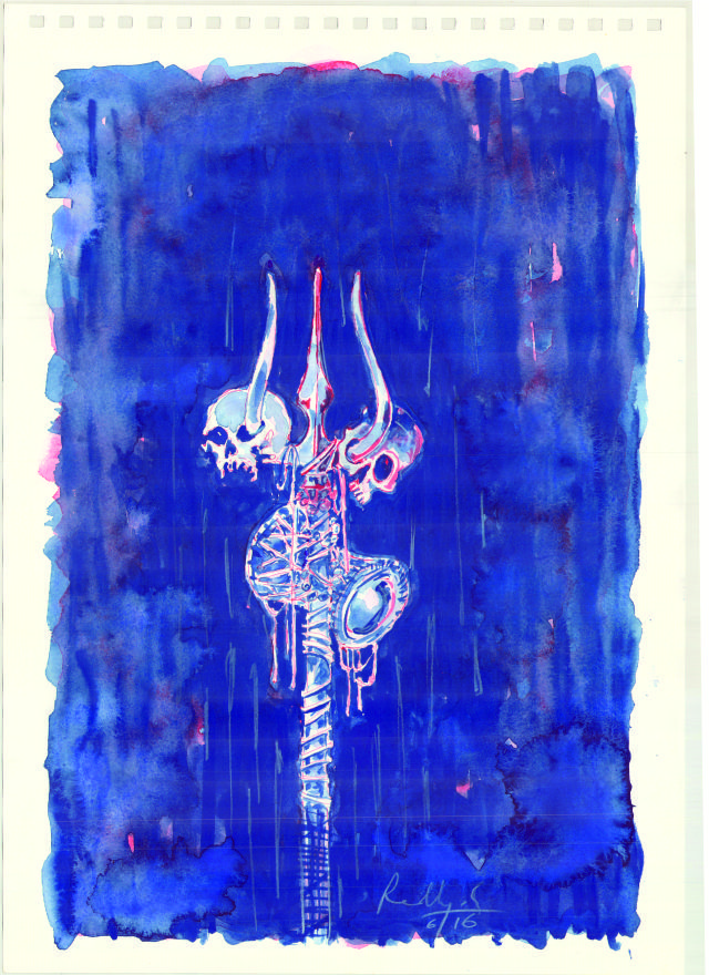 RUDRA TRISHUL SHIVA MYTHOLOGY WATER COLOR PAINTING ILLUSTRATION BLUE SKULL