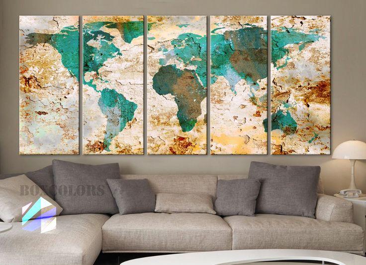 "XLARGE 30""x 70"" 5 Panels 30""x14"" Ea Art Canvas Print World Map Original Watercolor texture Old Wall design Home Office decor green ( framed 1.5"" depth)"