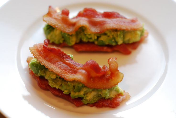 Bacon and guacamole sammies All you need are two ingredients: Guacamole serves as the filling between two crispy slices of bacon in this tasty twist on a breakfast sandwich. To save time, make the guac ahead (here's a hack to keep it from browning) and bake the bacon in the oven to cut down on cleanup.