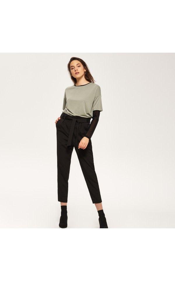 Spodnie z wiązaniem w talii, SPODNIE, czarny, RESERVED
