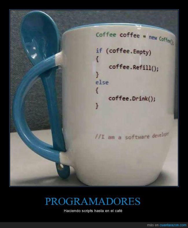 Cuando eres programador, lo eres desde que te levantas hasta que vas a dormir - Haciendo scripts hasta en el café   Gracias a http://www.cuantarazon.com/   Si quieres leer la noticia completa visita: http://www.estoy-aburrido.com/cuando-eres-programador-lo-eres-desde-que-te-levantas-hasta-que-vas-a-dormir-haciendo-scripts-hasta-en-el-cafe/