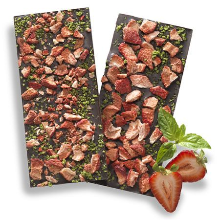 Dark Chocolate, Strawberry & Basil Bark Bar from Moonstruck Chocolate - an inventive & beautiful inclusion combination!