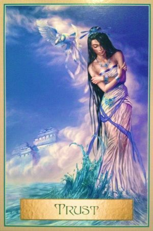 Today's Angel Card Message  Message from Trust:  The lady featured on this card seems troubled and a little unsure of things.  The water represents rising emotions. She senses that a change is looming but she is not sure what changes will occur and how they will affect her.  Read more: http://www.online-tarot-readings-by-amber.info/angel.html