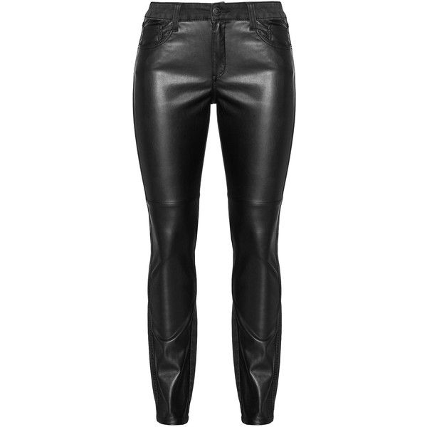 Triangle Black Plus Size Faux leather front slim fit jeans (120 CAD) ❤ liked on Polyvore featuring jeans, pants, bottoms, black, plus size, mid-rise jeans, rocker jeans, black straight leg jeans, leather look jeans and black faux leather jeans