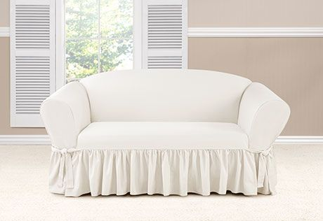 Sure Fit Slipcovers Essential Twill One Piece Ruffled Slipcovers with Scotchgard - Loveseat