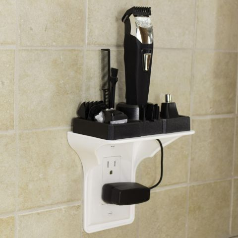 Instead of leaving your electric razor or toothbrush sitting on the counter, just waiting to fall and break, use this genius shelf ($11, amazon.com). It creates bonus vertical storage for tight spaces.