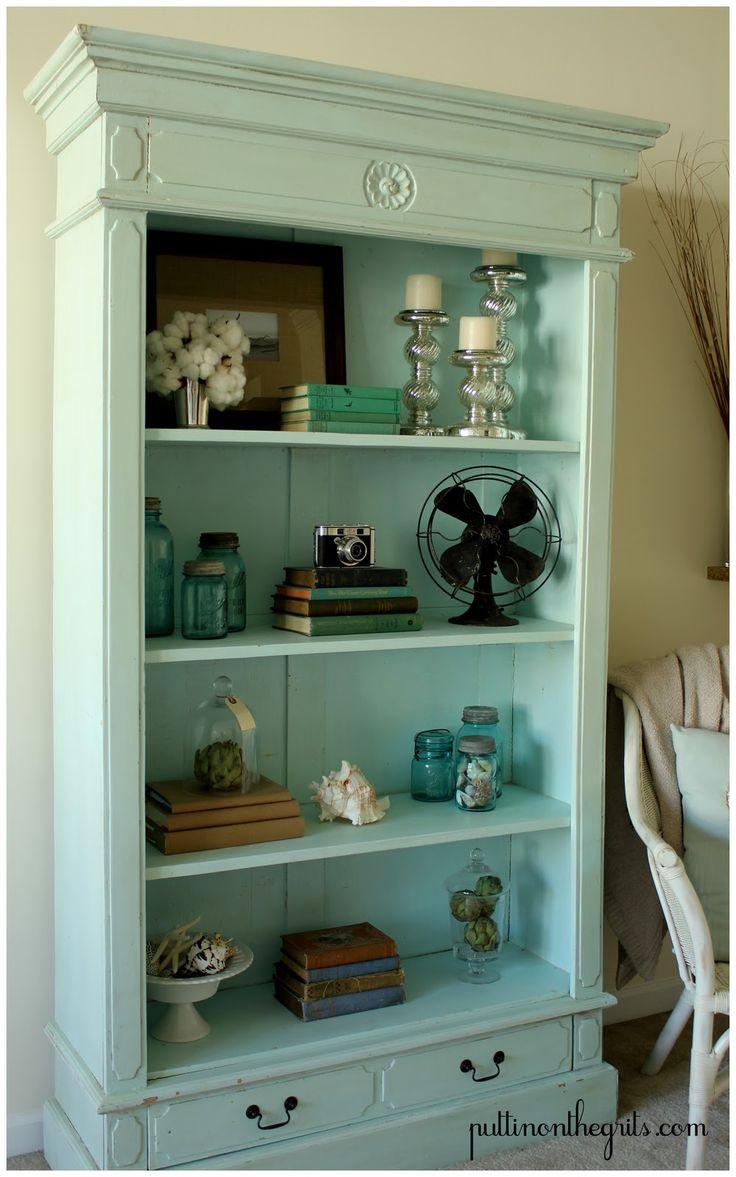 Cute aqua book case home fry pinterest shelves for Cute bookshelf ideas