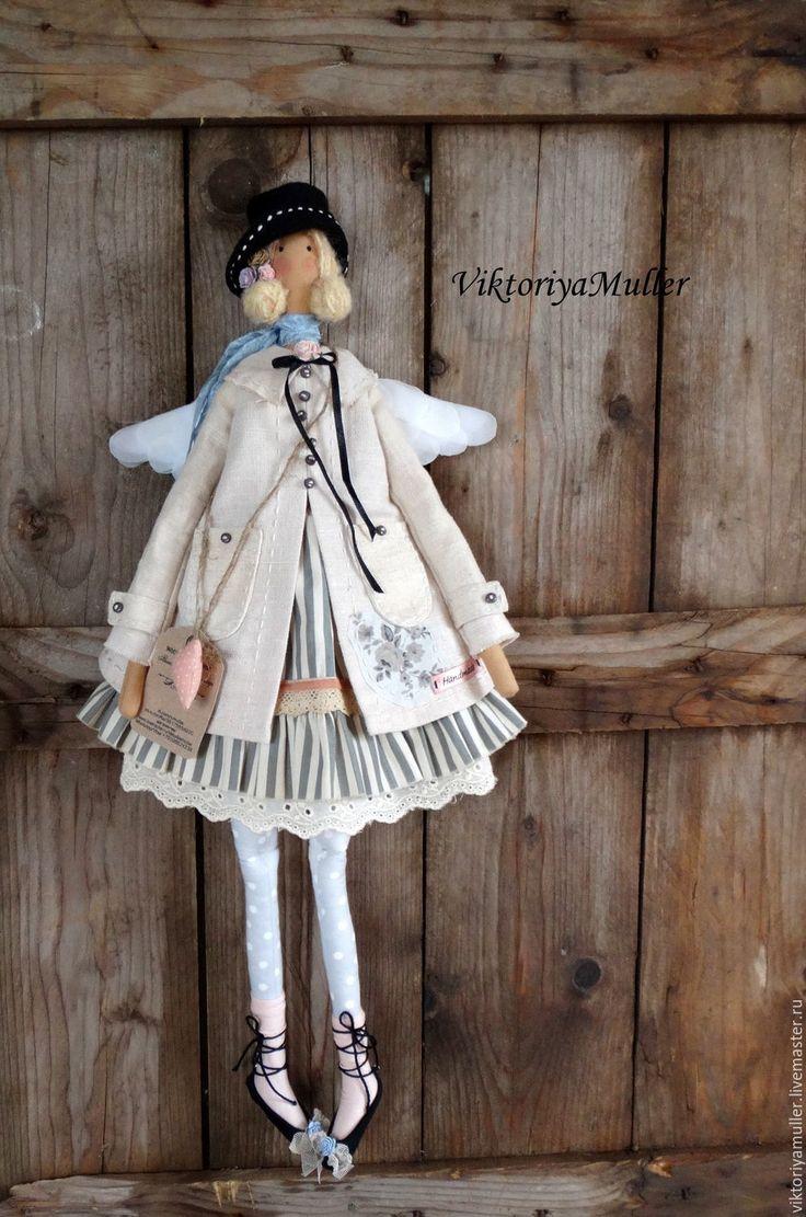 кукла тильда купить тильду тильда ангел винтажный ангел винтаж украшение интерьера серый бежевый куклы Виктории Муллер