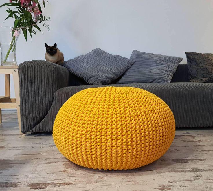 Knitted Pouf - colours, Yellow, Seat, Crochet Pouf, ottoman, footstool by MaliciousFox on Etsy https://www.etsy.com/uk/listing/567230043/knitted-pouf-colours-yellow-seat-crochet