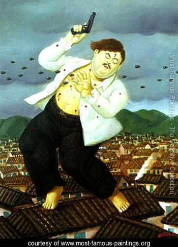 Death of Pablo Escobar - Fernando Botero - www.most-famous-paintings.org