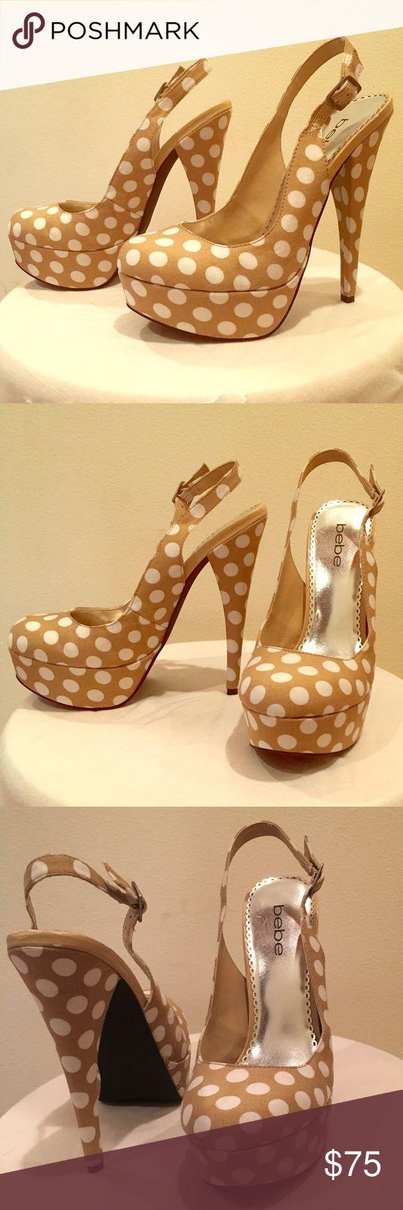 Spotted while shopping on Poshmark: bebe polka dot sling back pumps! #poshmark #fashion #shopping #style #bebe #Shoes