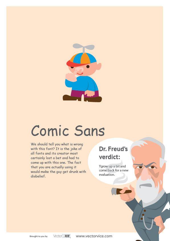 Comic Sans Font Infographic Dr. Freud #ComicSans #Font #Infographic #inspiration #designer #design
