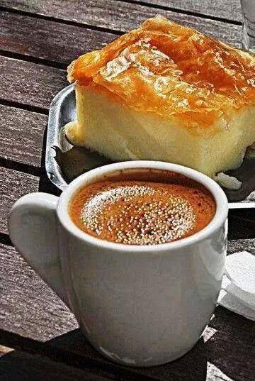 Galektoboureko and greek coffee