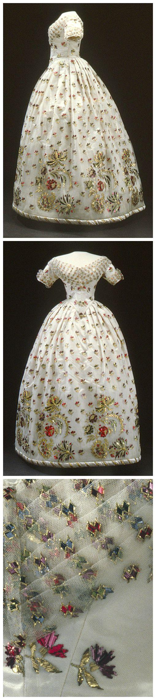 Gala dress, possibly worn by Princess Eugénie of Sweden (1830-89), 1840s, Royal Armory, Stockholm.
