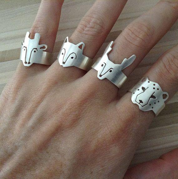 Alce en anillo ajustable anillo de Alce ajustable en plata