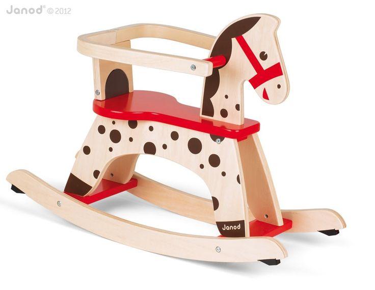 Dzieci uwielbiają takie #zabawki, drewniany koń na biegunach to marzenie każdego dziecka. Konik posiada bazpieczne, zdejmowane oparcie, Janod
