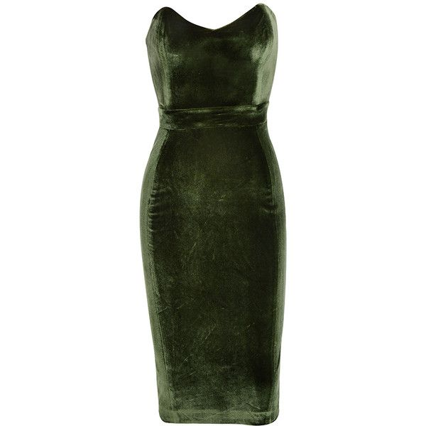 'Antonella' Olive Green Velvet Strapless Dress ❤ liked on Polyvore featuring dresses, gown, short dresses, green strapless dress, sexy dresses, green cocktail dress and green dress