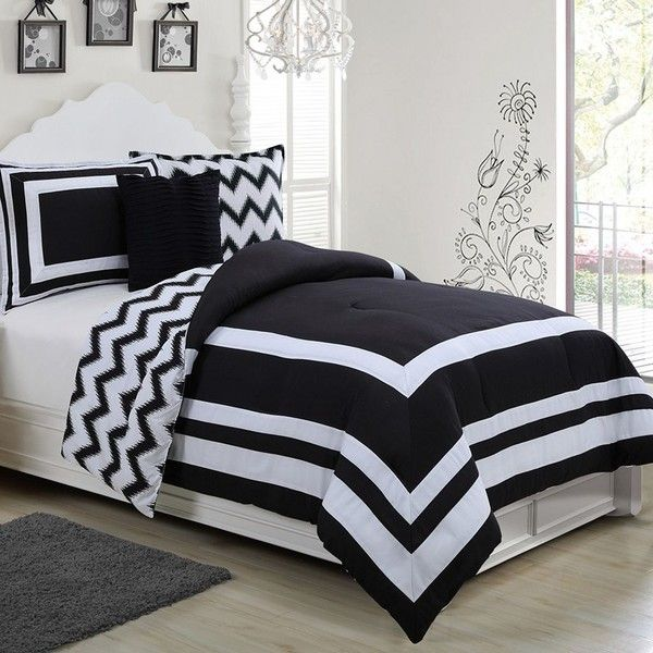 Madeline Reversible 3-piece Comforter Set, Black ($100) ❤ liked on Polyvore featuring home, bed & bath, bedding, comforters, black, reversible comforter, black twin comforter, black chevron bedding, chevron twin comforter and black comforter set