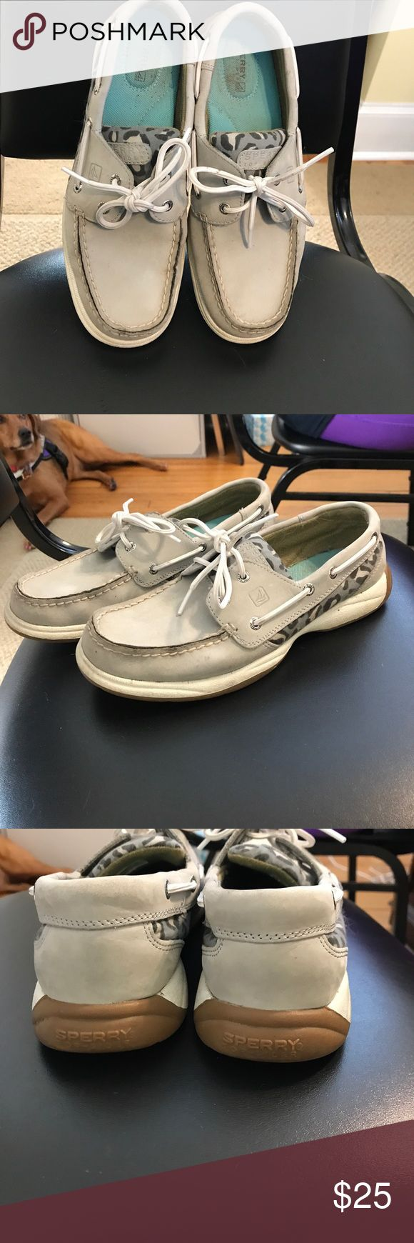Sperry's  TopSiders Re-posh--  Light gray Sperry TopSiders with Cheetah print on each side.  Hardly worn, look almost new. Just  not my color. Sperry Top-Sider Shoes Flats & Loafers