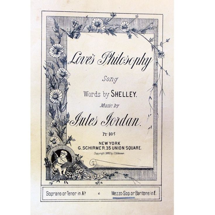 "Happy #musicmonday!  Today we have the cover of #sheetmusic from 1886 featuring the poem ""Love's Philosophy""  by Percy Bysshe Shelley (husband of ""Frankenstein"" author Mary Shelley). American composer Jules Jordan created the music set to this poem.  Stop by the Music Library in Fenwick to see this for yourself!  #HClibraries #musiclibrary #percybyssheshelley #julesjordan #lovesphilosophy by hc.libs"