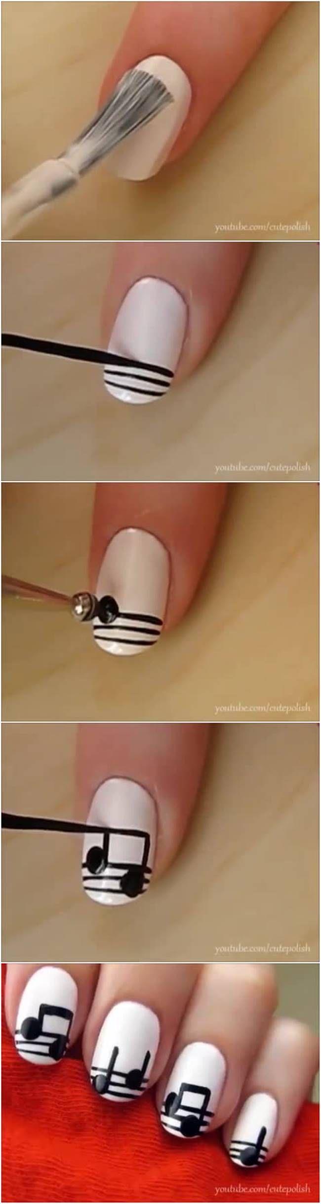 DIY Musical Notes Nail Art #fashion #beauty #nail_art
