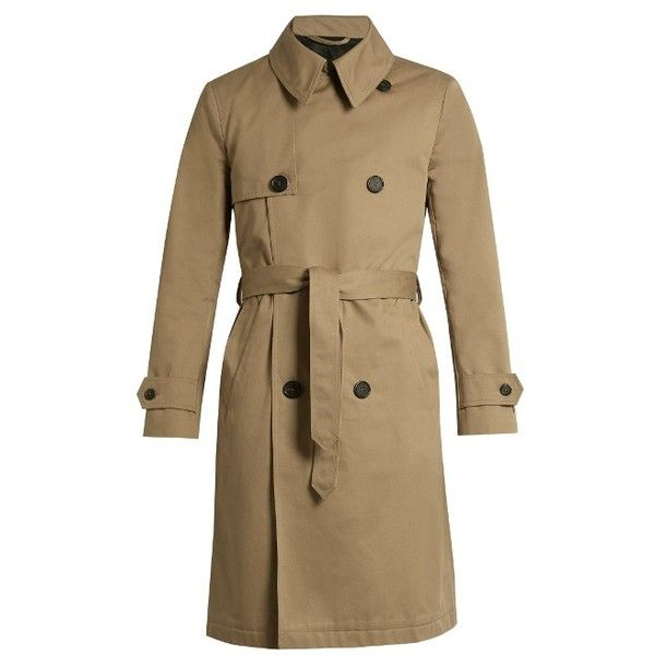 AMI Double-breasted cotton-twill trench coat ($713) ❤ liked on Polyvore featuring men's fashion, men's clothing, men's outerwear, men's coats, beige, mens trench coat, mens double breasted trench coat and mens double breasted coat
