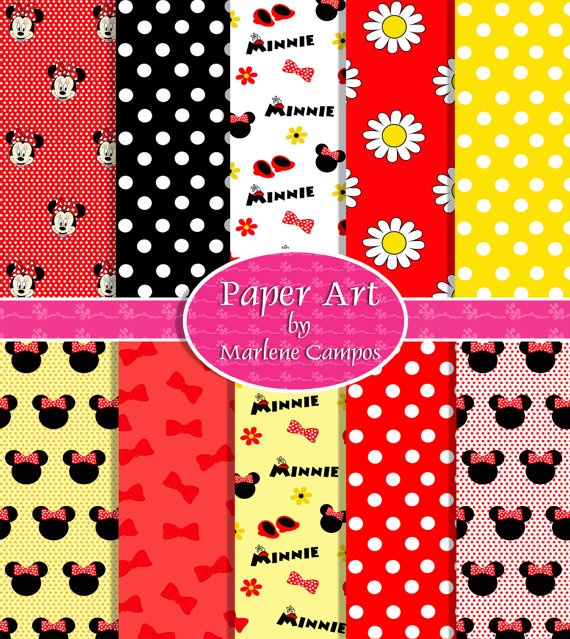 Minnie Mouse Classic Colors Digital Paper 10 Sheets 85 by marlicg, $4.99
