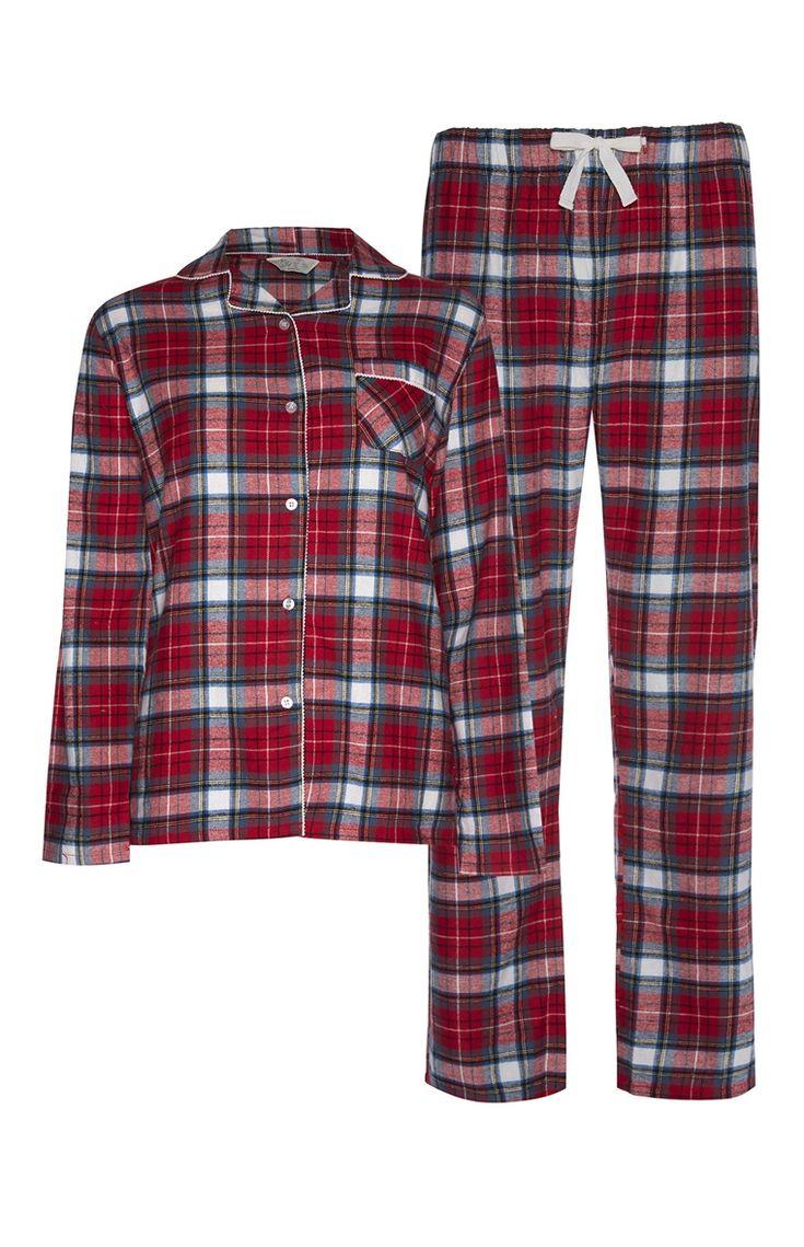 Pyjama rouge à motif écossais