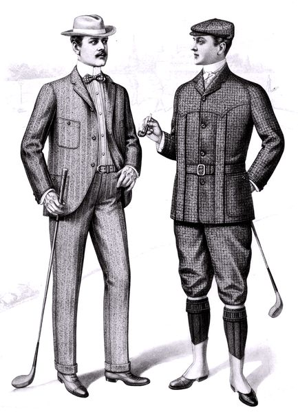 Fashion plate from the Sartorial Arts Journal shows a three-button suite with patch pockets (left) and a golfing costume consisting of a Norfolk jacket and knickerbockers (right), 1901