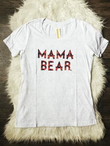 "Classic Relaxed Scoop Neck ""Mama Bear"" Tri-White Buffalo Plaid Design"