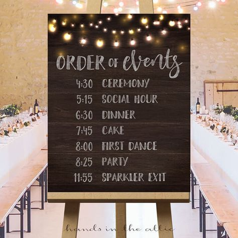Printable large wedding signs, rustic wedding ideas, wedding ceremony sign, wedding day schedule, order of events wedding sign DIGITAL