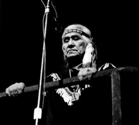 On Canada's 100th birthday, Chief Dan George silenced a crowd of 32,000 with his 'Lament for Confederation' at Empire Stadium.