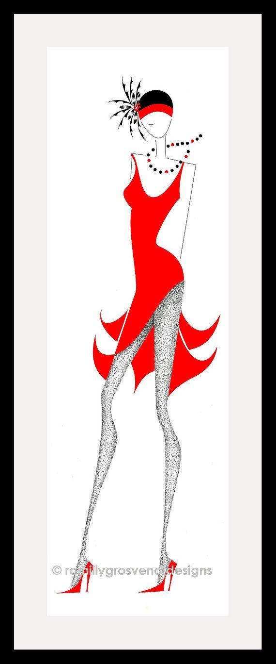 des années 1920 - mode Illustration - sticker - Fashion Design - rouge - Turban - ArtFashionByRomilly - 3 Cocktail