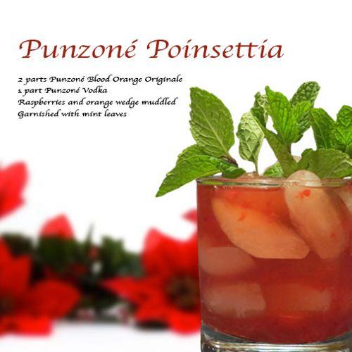 Punzoné Poinsettia drink - Punzoné  Blood Orange Originale, Punzoné Vodka, Raspberries, Orange, Mint Leaves
