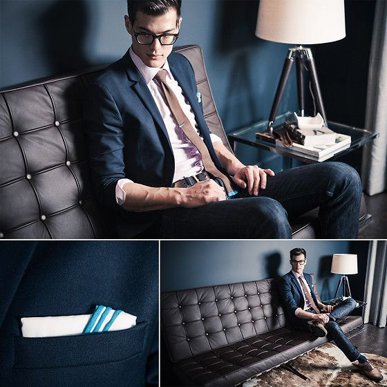 Levi's 511, Indochino Pink Shirt, Penguin Brown And Turquoise Tie, Barcelona Couch
