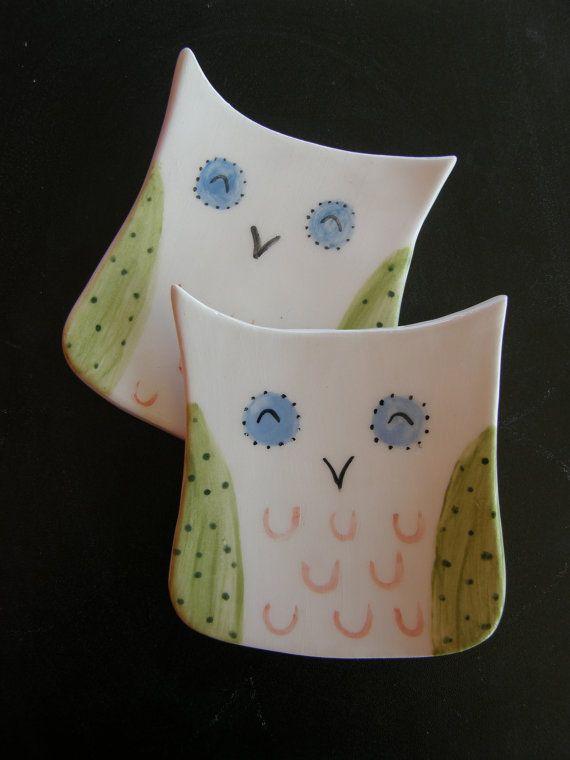 Tea Bag Holder Pair of 2 Ceramic Owl Shaped Tea by TatjanaCeramics, $9.00