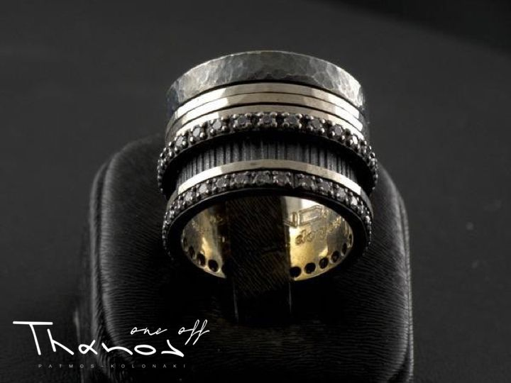Impress with your style with a multi layered handmade ring with zircon and black stones! Shop online:  #Thanos #ThanosOneOff #BeOneOfAKind #ring #HandmadeRing #handmade #KandCollection #silver #silver925 #zircon #modern #blackstones #jewel #jewelry #jewellery #FreeShipping